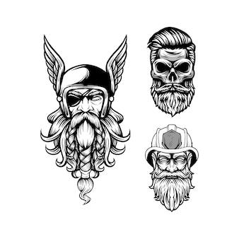 Beardy ontwerp zwart en wit