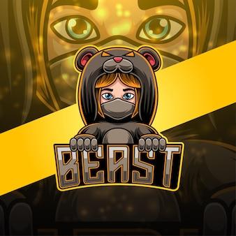Beast esport mascotte logo ontwerp