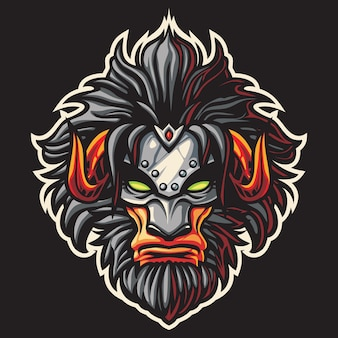 Beast mask esport logo illustration