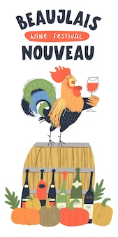 Beaujolais nouveau wijnfestival vectorillustratie