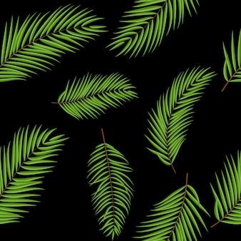 Beautifil palm tree leaf silhouet naadloze patroon achtergrond