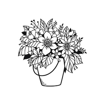 Beautifulflowers in rieten mand