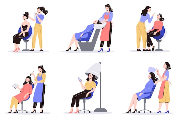 Beauty center dienstverleningsconcept. bezoekers van schoonheidssalons met verschillende procedures. vrouwelijk personage in salon. haarbehandeling en styling. illustratie set
