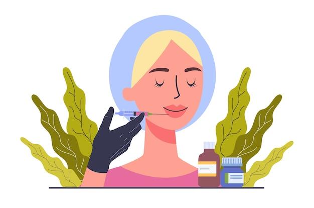 Beauty center dienstverleningsconcept. schoonheidssalon bezoekers met procedure.