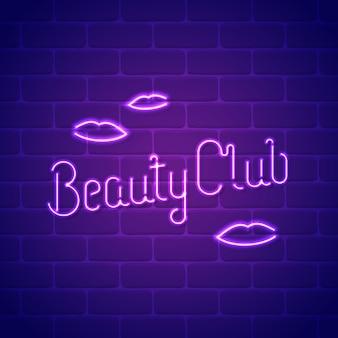Beauty club neon ign-sjabloon. neonlichtbuizen belettering met een steen