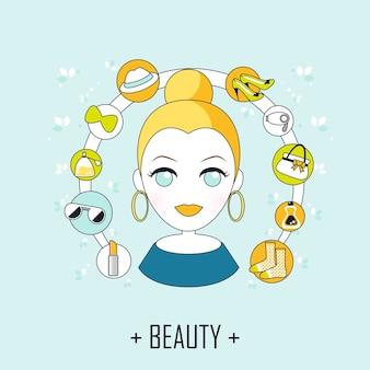 Beauty concept: mooie vrouw met mode-iconen in lijnstijl