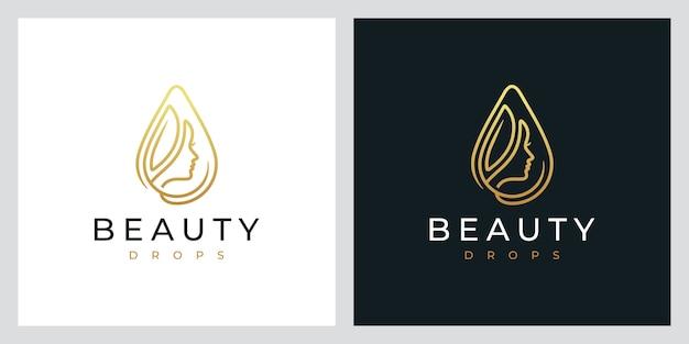 Beauty drops, natuurlijke spa, cosmetica, logo-ontwerpinspiratie