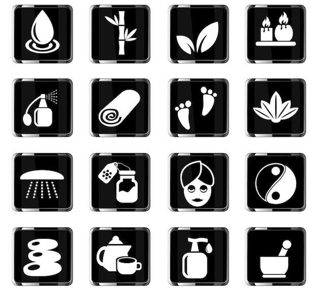 Beauty- en spa-webpictogrammen voor gebruikersinterfaceontwerp