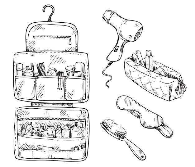 Beauty reisset toilettas, set reisbenodigdheden. vector schets.