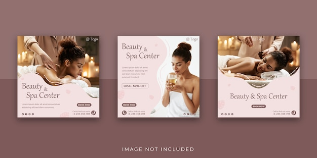 Beauty & spa center social media post-sjabloon