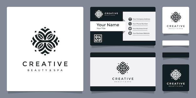 Beauty & spa-logo met sjabloon voor visitekaartjes