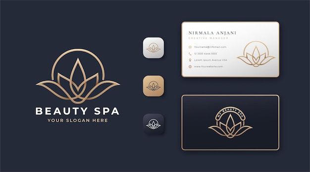 Beauty spa lotus logo en visitekaartje ontwerp