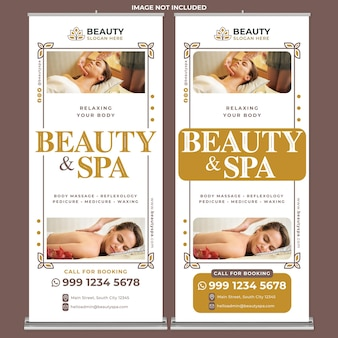 Beauty spa-promotie roll-up banner afdruksjabloon in platte ontwerpstijl