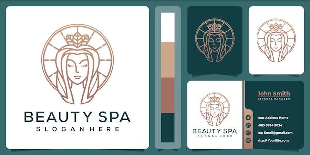 Beauty spa vrouw luxe logo met sjabloon voor visitekaartjes