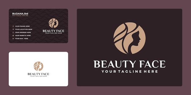 Beauty woman kapsalon gouden logo ontwerp en visitekaartje business