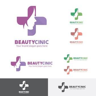 Beauty woman medical clinic logo met gezicht en kruis symbool.
