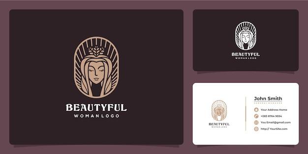 Beautyful lady logo ontwerp en visitekaartje