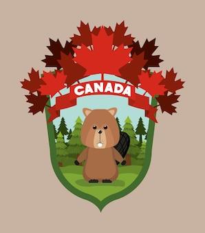 Beaver dieren- en dennenbomen