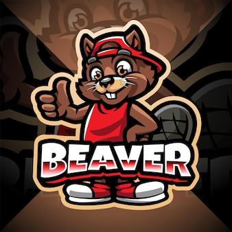 Beaver esport mascotte logo ontwerp
