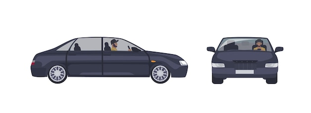Bebaarde blanke man in glb rijden zwarte sedan auto geïsoleerd op wit