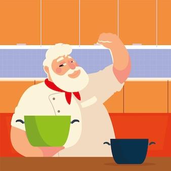 Bebaarde chef-kok koken met pot professionele restaurant vectorillustratie