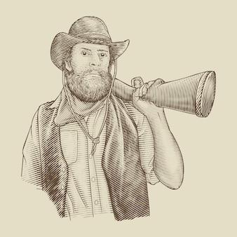 Bebaarde cowboy met pistool
