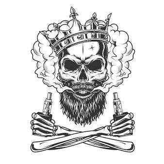 Bebaarde en besnorde schedel die kroon draagt