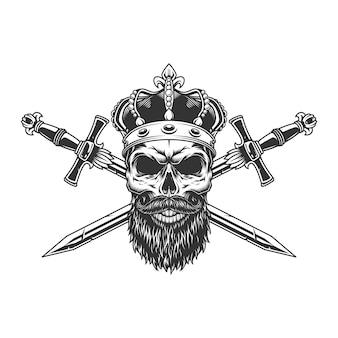 Bebaarde en snor schedel in kroon