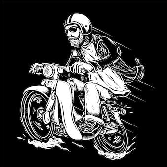 Bebaarde fietser motorfiets illustratie