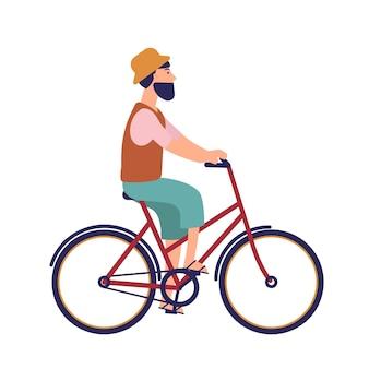 Bebaarde hipster man in hoed en casual kleding op stadsfiets. grappig mannelijk personage op de fiets. trapfietser geïsoleerd op een witte ondergrond
