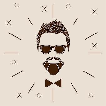 Bebaarde hipster silhouet. mode vector illustratie eps 10 geïsoleerd op een witte achtergrond.
