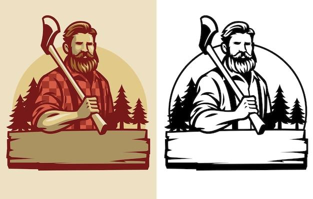 Bebaarde houthakker-mascotte houdt de bijl vast