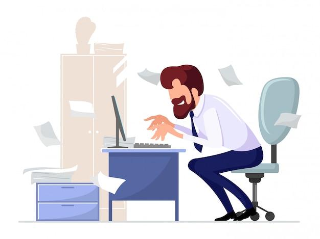Bebaarde kantoormedewerker, werknemer zittend op een stoel op computerbureau, enthousiast werken op de achtergrond van kast, plant, verspreide papieren. hardwerkende man te typen. cartoon illustratie.