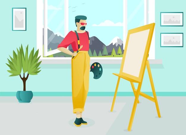 Bebaarde kunstenaar character working in art studio