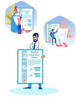 Bebaarde man arts met medische verzekering.