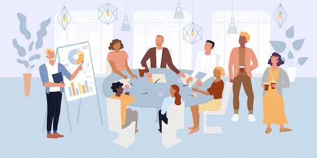 Bebaarde man die in de buurt van flip-over, presentatie maakt voor collega's, investeerders.