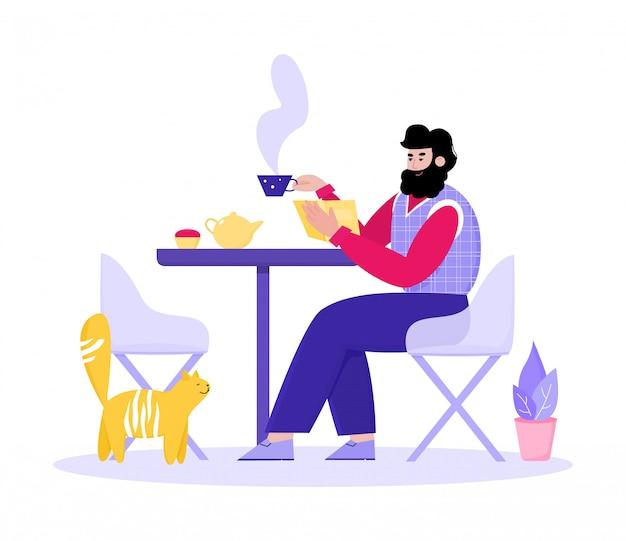 Bebaarde man genieten van koffie in straat café cartoon afbeelding