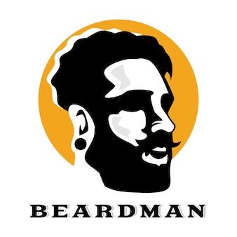 Bebaarde man logo sjabloon Premium Vector