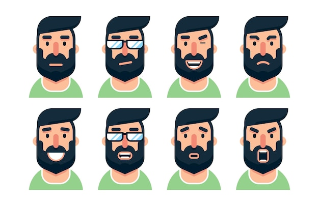 Bebaarde man stripfiguur met verschillende gezichtsuitdrukkingen
