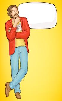 Bebaarde nadenkend hipster man wat is iets