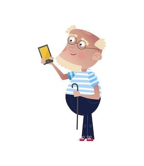 Bebaarde oude man met smartphone en stok