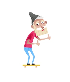 Bebaarde oude man op skateboard karakter.