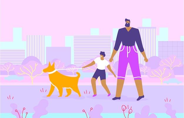 Bebaarde vader en zoon wandelen met de hond in het park