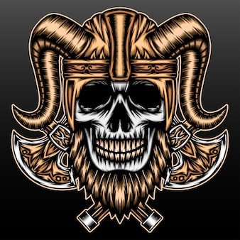 Bebaarde viking-schedel die op zwart wordt geïsoleerd