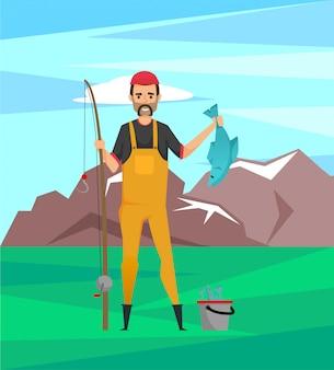 Bebaarde visser in rubberen laarzen met fish trophy