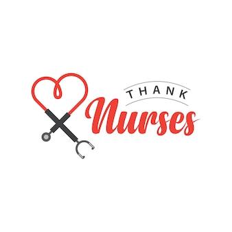 Bedank nurses vector template design illustration