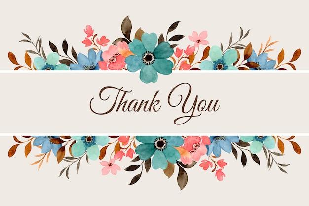 Bedankkaart met aquarel bloemenrand