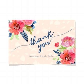 Bedankkaart met aquarel florale randen