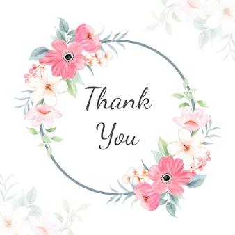 Bedankkaart met aquarel roze bloemenframe
