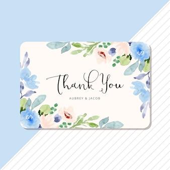 Bedankkaart met blauw perzik bloemen aquarel frame